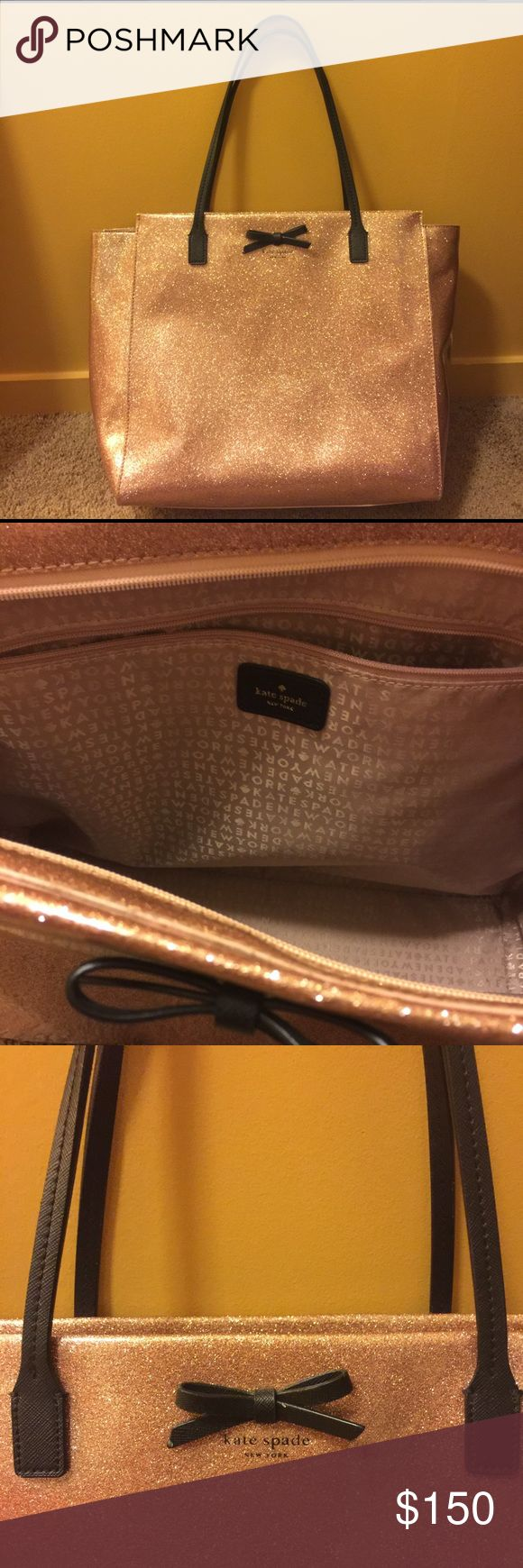 Flawless Rose Gold Kate Spade Glitter Tote Like new! Beautiful Rose Gold Kate Spade tote with black leather bow and handles. Zipper closure and signature matching Kate Spade satin interior. Fits all size Macbook laptops, iPads, books, everything! Rare find, don't miss out :) kate spade Bags Totes