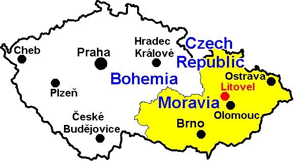 Bohemia & Moravia with important centres.