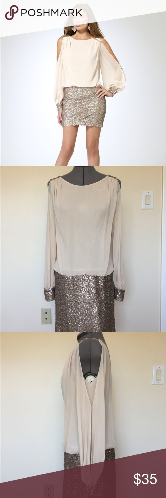 Cache Sequin Cream Long Open Sleeve Dress A beautiful dress that is perfect for any party! It is a one piece that has a sequined bottom and a flowy cream top. The sheer sleeves are slit open and it has a scoop neckline. The material on the inside is smooth so it can go on easily. It has a zipper in the back. Its in great condition and there are no flaws. ⚠️Contains: Polyester and Elastane ⚠️Length: 33.5 in. ⚠️Pit-to-Pit: 17.5 in. ⚠️Sleeve Length: 23.5 in. Cache Dresses Long Sleeve