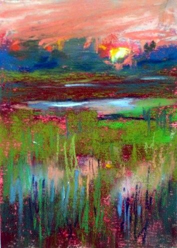Lowcountry Sunset, pastel painting by Karen Margulis