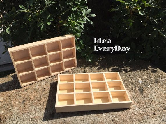 Unfinished Wooden Box With 3 Compartments Wooden Shelf