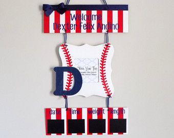 Baseball Hospital Door Hanger Welcome Baby Boy Red, Navy, & White - Hospital Baby Sign - Baby Door Hanger - Baseball Nursery Hanger