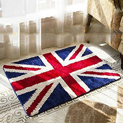"Luxbon Soft Microfiber Non-slip Water-absorbing British Flag England Flag the Union Jack Doormats Entrance Welcome Mat Floor Bathroom Kitchen Indoor Outdoor Home Decodative Rug Mats Carpet-23.6x35.4"""