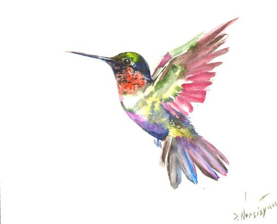 Hummingbird Painting original waterclor painting by ORIGINALONLY