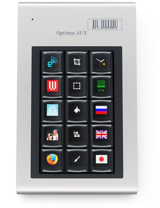 Optimus Aux is created for those, who wish to have an effective visual tool for enhanced human-computer interaction, still using regular keyboard for typing.
