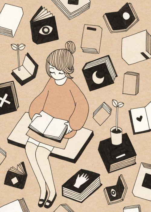 Un sábado entre libros (ilustración de Rose Wong) #biblioteques_UVEG