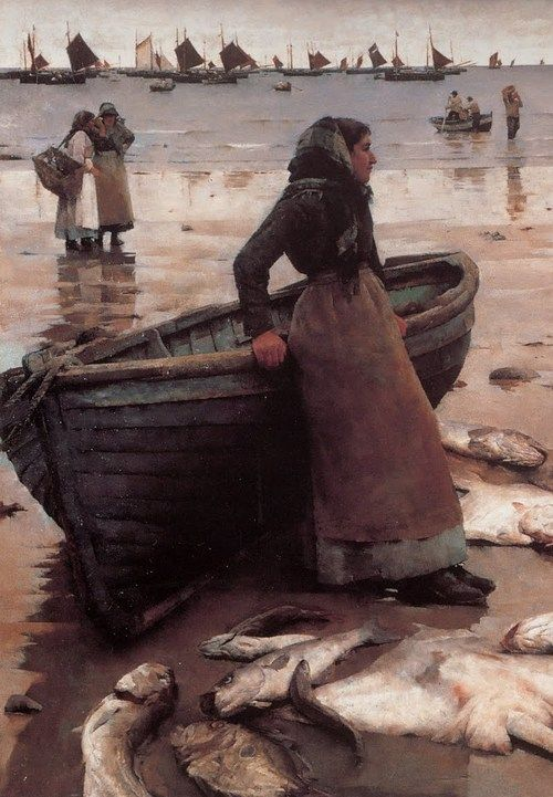 'A FISH SALE ON A CORNISH BEACH' (1885) | Stanhope Alexander Forbes: detail of the left half of the painting.     ✫ღ⊰n