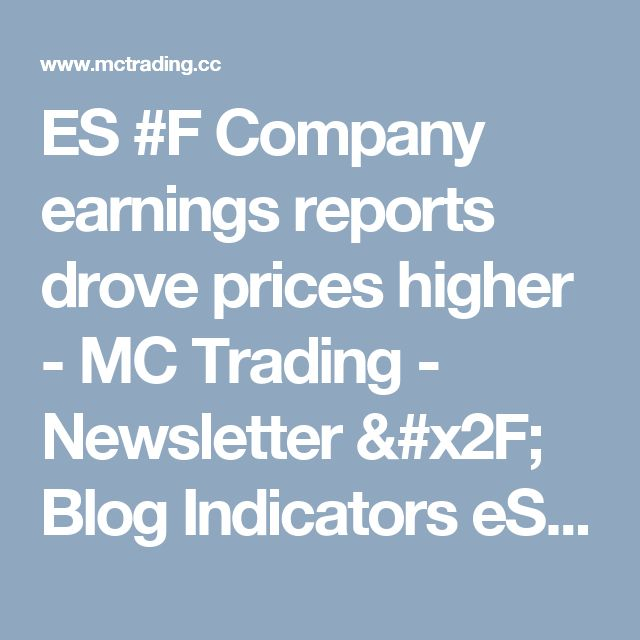 ES #F Company earnings reports drove prices higher - MC Trading - Newsletter / Blog Indicators eSignal Trade Station Forex Stock Market Commodities Futures