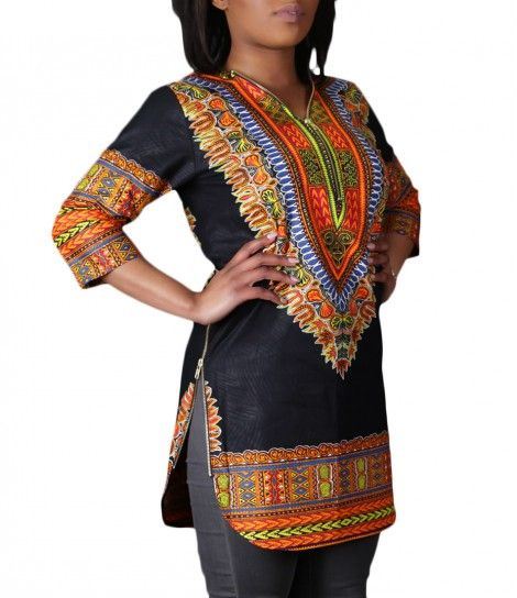 Ladies Dashiki Zip Shirt