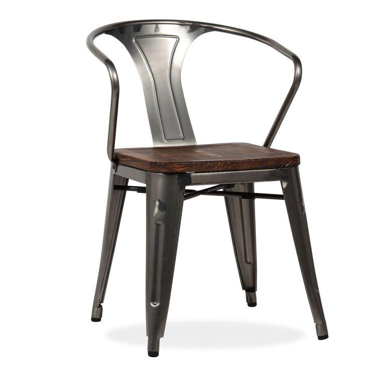 Chaise en acier brossé pour la structure.      Le siège est recouvert d'une planche en pin.      Style industriel vintage.      Idéale pour les cuisines ou salles à manger.      S'associe avec différents styles de décoratif.       REMARQUE :  - L'acier étant un matériau noble il peut présenter des traces naturelles d'oxydation qui ne sont pas considérées comme un défaut de fabrication. La pièce est traitée et vernis spécialement pour éviter qu'elle se corrode et se détériore.   - La f...
