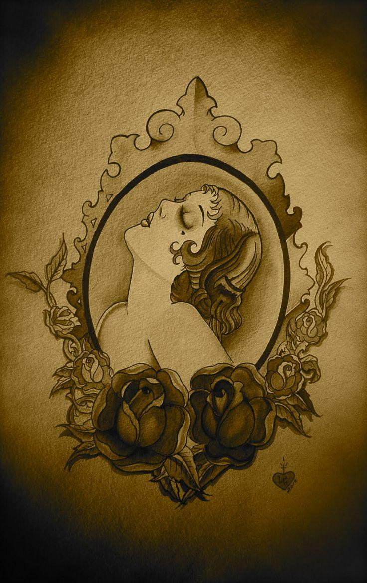 20's lady cameo tattoo #cameotattoo