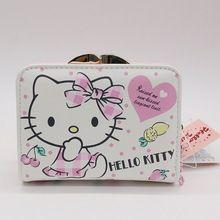 2017 новые короткие кошелек женский Высокое качество PU леди карты кошелек Hello Kitty сумка в 2-х стилях можно выбрать(China)
