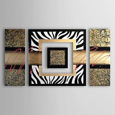pintado a mano con pintura al óleo abstracta marco estirado - juego de 4 – MXN $ 2,016.03
