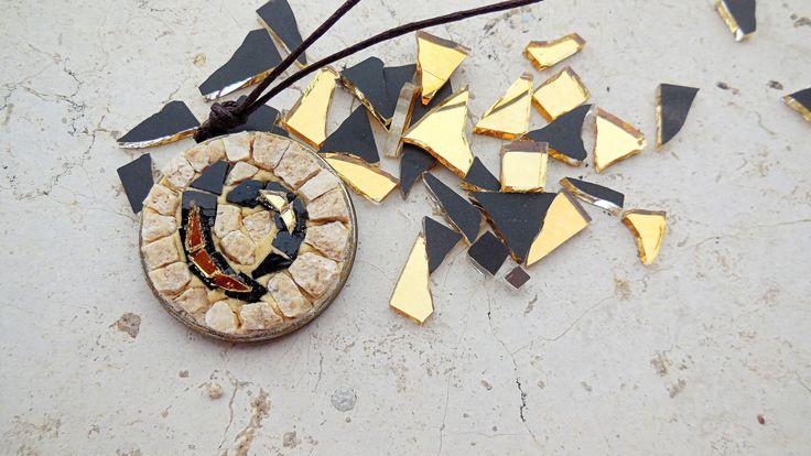 Bizantina. Mosaico da indossare. NERO : Ciondoli di micamosaico