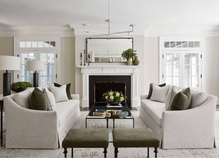 Cozy Traditional Decor With Linen Slipcovered Sofas And Fireplace In Restoration Hardware Styl