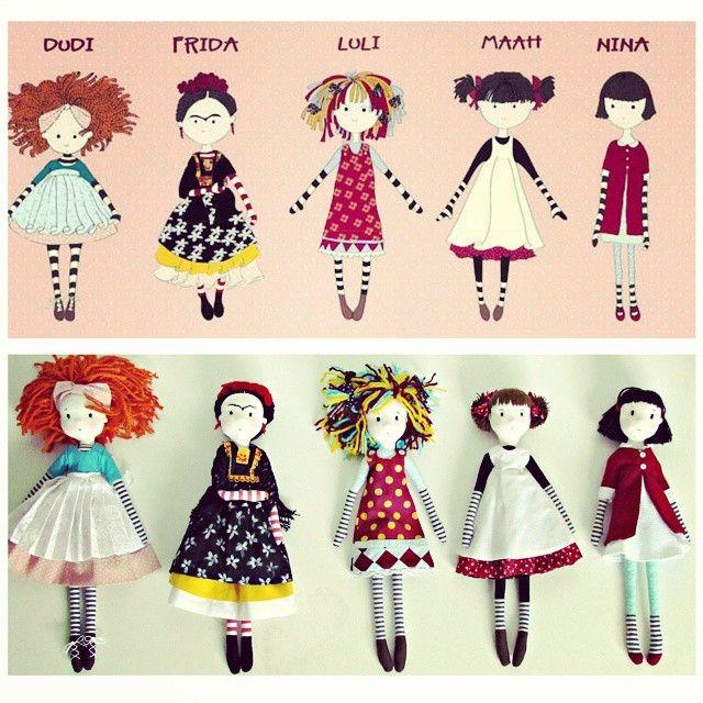 Dolls by Anacardia + Cecília Murgel drawings