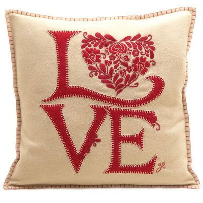 Luxury Designer Romany Love Cushion - Hand embroidered Wool Cushion