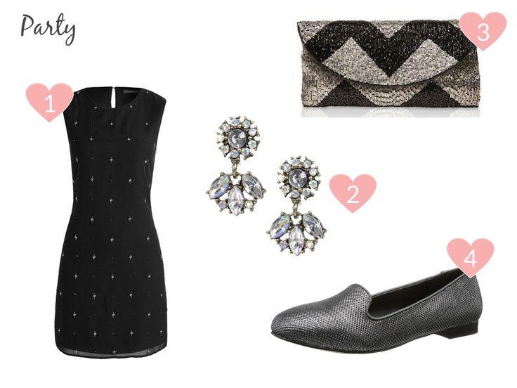 Frühlingsoutfits aus dem Winter-Sale: Party-Dress mit Pailletten, Chandelier-Ohrringen & silbernen Slippern
