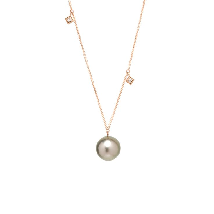 14k large tahitian pearl and princess diamond dangle necklace