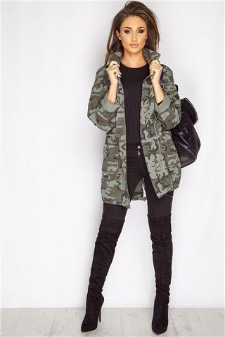 Megan McKenna Khaki Camouflage Military Jacket at misspap.co.uk