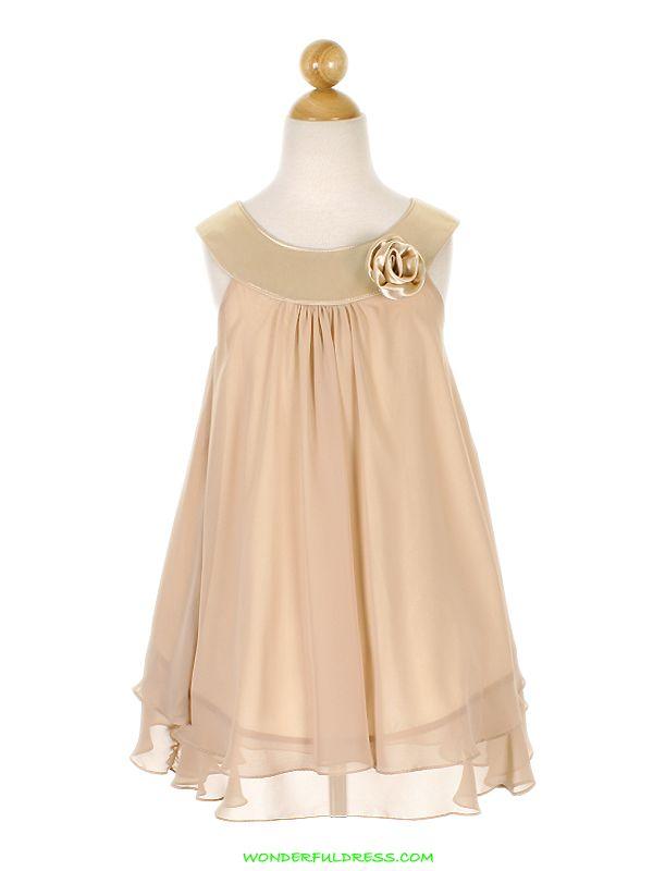 Little Girls Dresses #flowergirl #champagne #chiffon #wedding