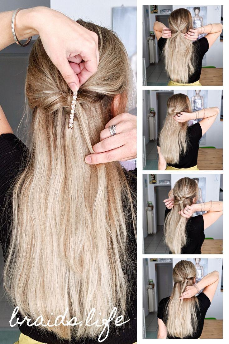 Frisuren Anleitung Ganz Einfache Halboffene Frisur Fur Weihnachten Und Fest Lassige Frisuren Mittellange Haare Frisuren Einfach Frisuren Lange Haare Halboffen