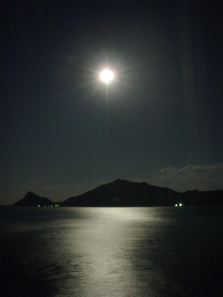 Moon and sea at Miyazaki.