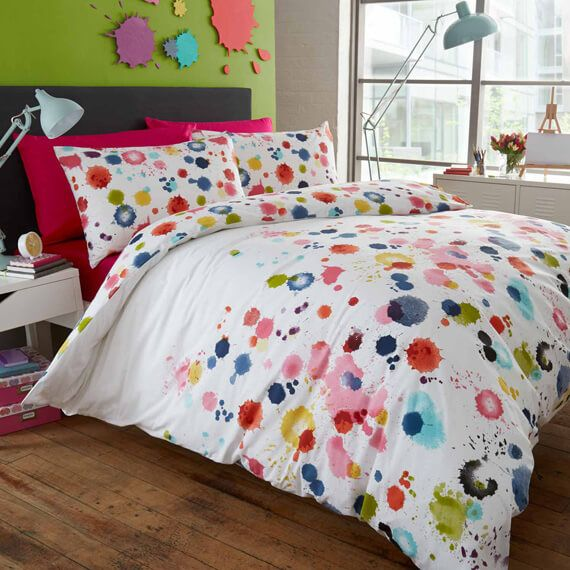 Paint Splatter Duvet Cover Bedroom Decor Ideas