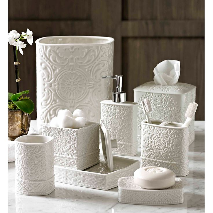 Trump Home Bedminster Damask Bath Accessory Collection  This stylish bath accessory collection will provide an elegant decorative highlight for your atmosphere. This stunning eight-piece collection has been cast from white embossed-porcelain to provide an eye-catching accent suitable for a range of decors.