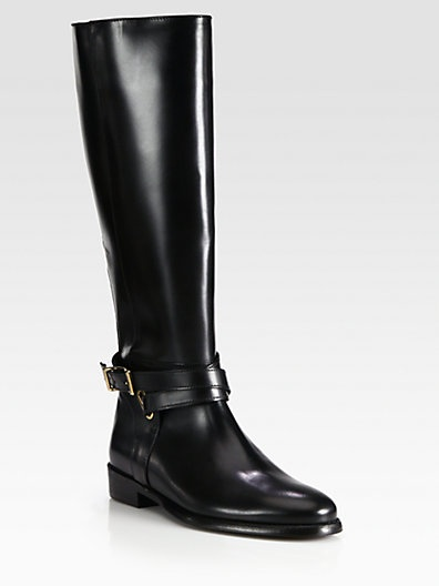 Burberry - Leather Knee-High Riding Boots - Saks.com