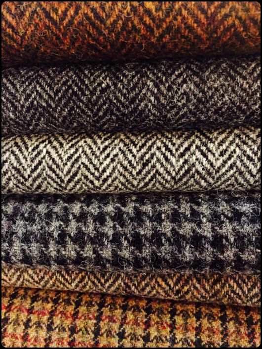 squareendknittedtie:  Fabrics of the season.  Autumn onwards brings more options.