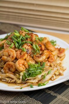 Spicy Shrimp + Napa Cabbage Stir-Fry Recipe: A quick and delicious Chinese-inspired seafood stir-fry. You won't even miss the rice! via @bigflavors