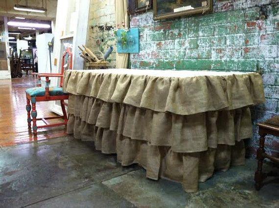 Burlap Multi Ruffle Tablecloth  We do CUSTOM Sizes! Rustic Decor, Vintage Decor, Country Decor Tablecloths