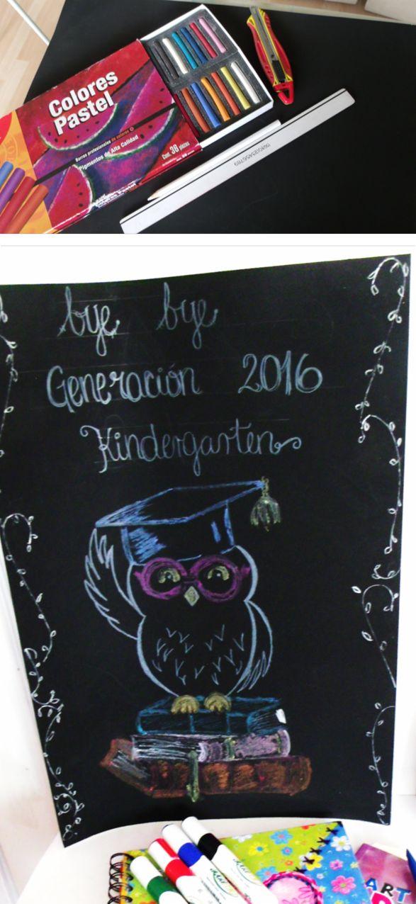 Graduación Kindergarden. Aprovecha tus colores pastel en cartulina oscura.