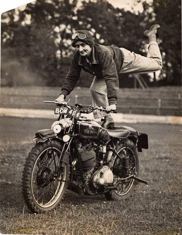 Featured on MotoLady... Jessie Ennis doing stunts back in the day.  This is also performed by my crew Majestic Unicorn MC, when we're messing around... fun!