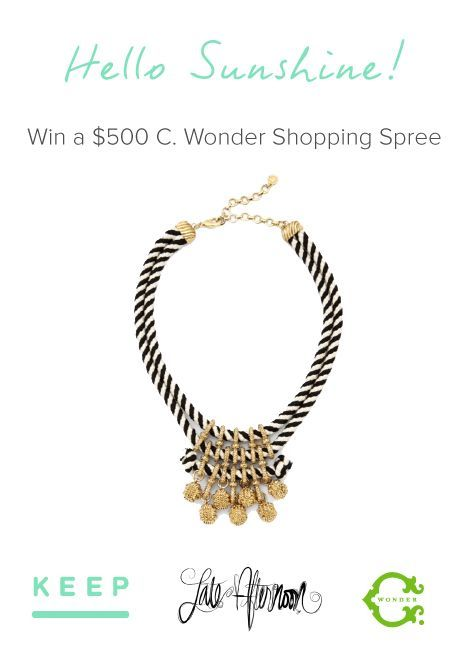 Look fab this spring with a new $500 C. Wonder outfit from Keep, Late Afternoon and C. Wonder. Enter for a chance to win.  Enter for a chance to win a $500 C. Wonder  Spring Outfit from @lindsay eller @C. Wonder @Liz Southall  #contest http://keep.com/giveaway3