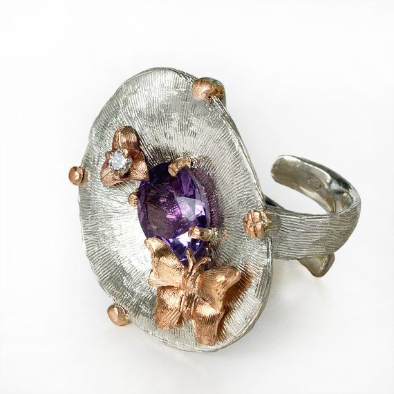 Gold and silver ring refined ring statement ring di ArleneJewels