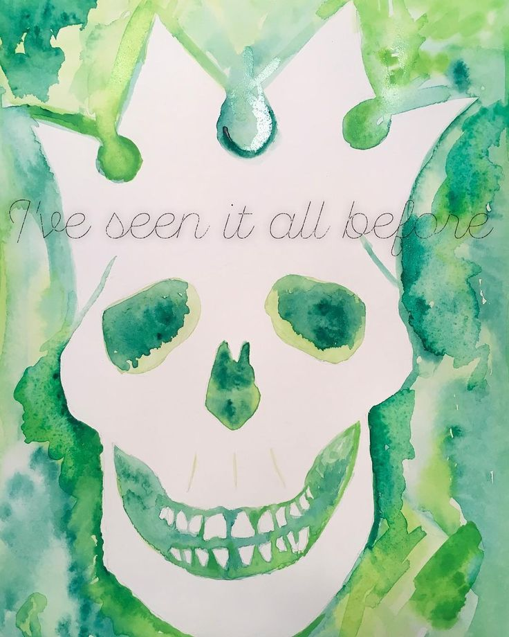June 6th  Watercolor + text project   Also #skullabration for today   Watercolor recreation of PJ Riot Act Skull   Text is from the @pearljam song Ghost lyrics   #june #watercolor #text #lyrics #ghost #riotact #art #skull #skullart #skullappreciation #skulladay #localart #localartist #green #painting #project #daily #dailycreativity #skulls #skulladay #teeth #teethwhitening #crown #iveseenitallbefore #creativesprint #pentel #negativespace