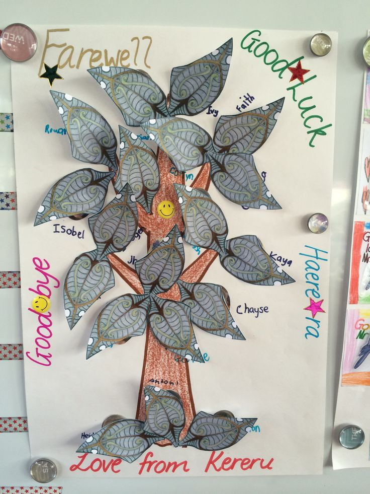 Farewell page for Outgoing Principal's book - each leaf has a picture of a child in Kereru Learning Space underneath it