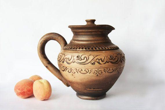 Juice jug Milk pitcher Wine Jug Rustic juicer by SmilingAlligator