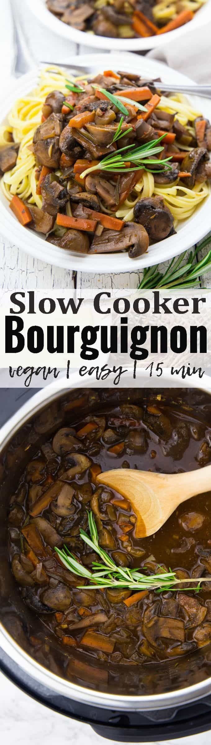 This vegan mushroom bourguignon is the perfect veggie alternative to the traditional French beef stew. For an extra boost of flavor, it's cooked in the slow cooker. It's perfect for your vegan Thanksgiving and Christmas! Find more vegan recipes at veganheaven.org!