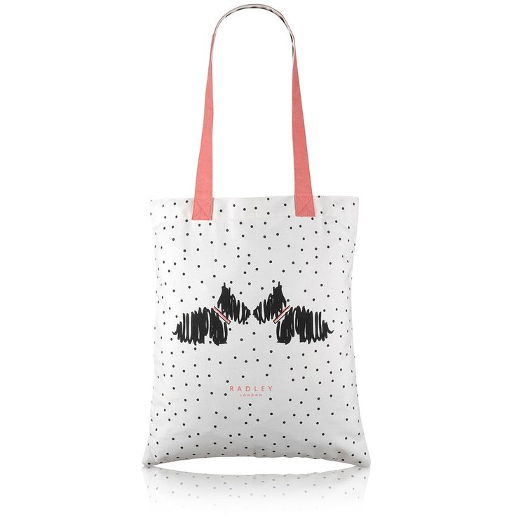 The Fleet Street medium canvas tote bag is perfect for impromptu shopping trips. It features two sweet Scottie dogs showered in array of pretty polka dots.
