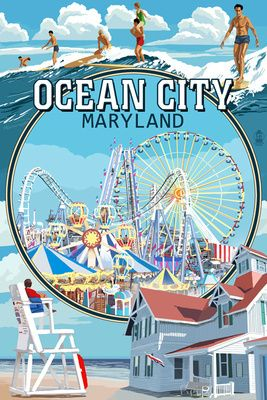 Ocean City, Maryland - Montage Scenes - Lantern Press Poster