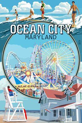 Ocean City, Maryland - Montage Scenes - Lantern Press Poster