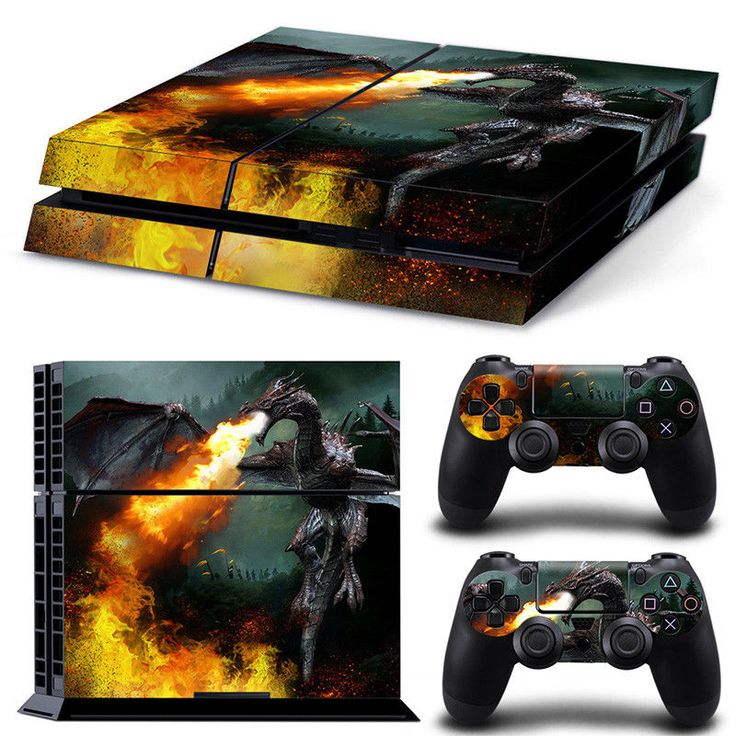 PS4 Playstation 4 Console Skin Decal Sticker Dragon Fire + 2 Controller Design