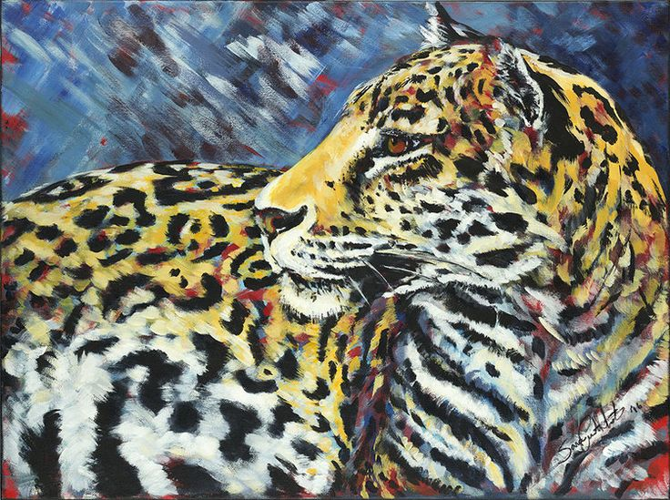 """Amur Leopard, acrylic on canvas. The the """"Red Series"""", endangered animals. By Sara Cuthbert."""