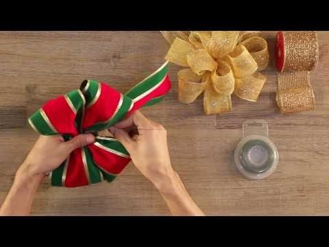 Moños flores navideñas de tres capas en cintas - YouTube