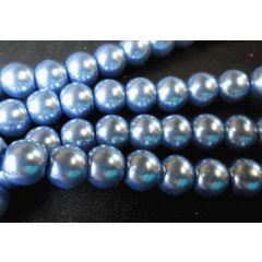 Metallic Blue Glass Pearls, 10mm - Per String ( /- 85). for R11.05