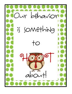 The Go To Teacher: Addition to Owl Behavior Chart