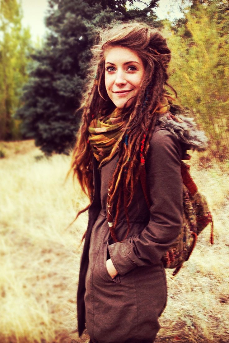 perfect natural dreads. loving the loose hair piled on top!